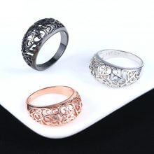 Flower Hollowing craft Rose Black Silver Gold Color Ring
