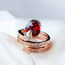 Show Bead Rose Gold Austrian Orange Crystals Rings for Women
