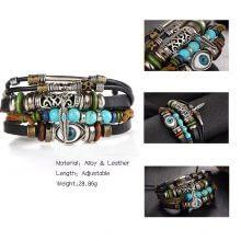 Turkish Eye Unisex Owl Leather Stone Vintage Bracelets
