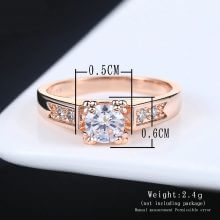Women Rose Gold Color Solitaire Rhinestones Lovers Ring