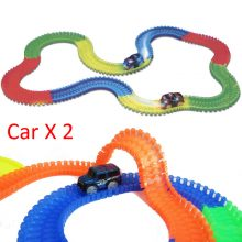 220pcs Racing Car RaceTrack with Led Car Bend Flex Twist