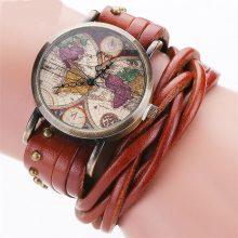 Genuine Leather World Map Women Quartz Watch
