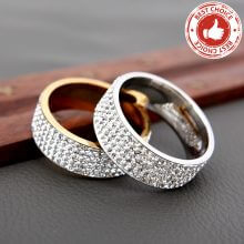 Crystal Clear Rhinestone Stainless Steel Rings For Women